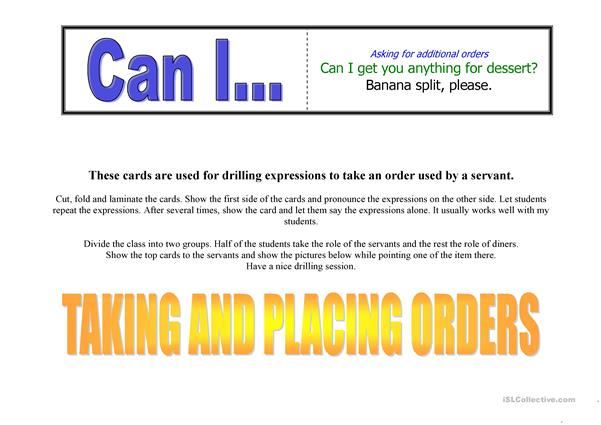 Taking and Placing orders
