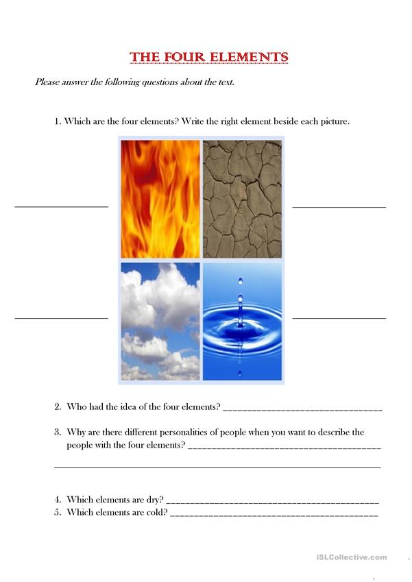 The classical four elements_questions