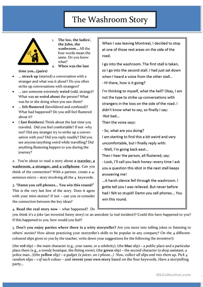 A funny tense review story (reading comprehension and speaking) - ESL worksheets