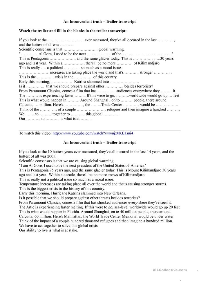 Printables Inconvenient Truth Worksheet inconvenient truth worksheet kids an esl worksheets 1018 activities page 14