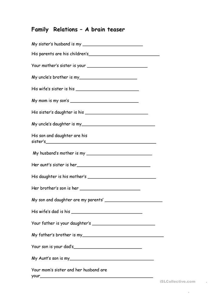 math worksheet : 18 free esl family relations worksheets : Printable Brain Teasers Worksheets For Adults