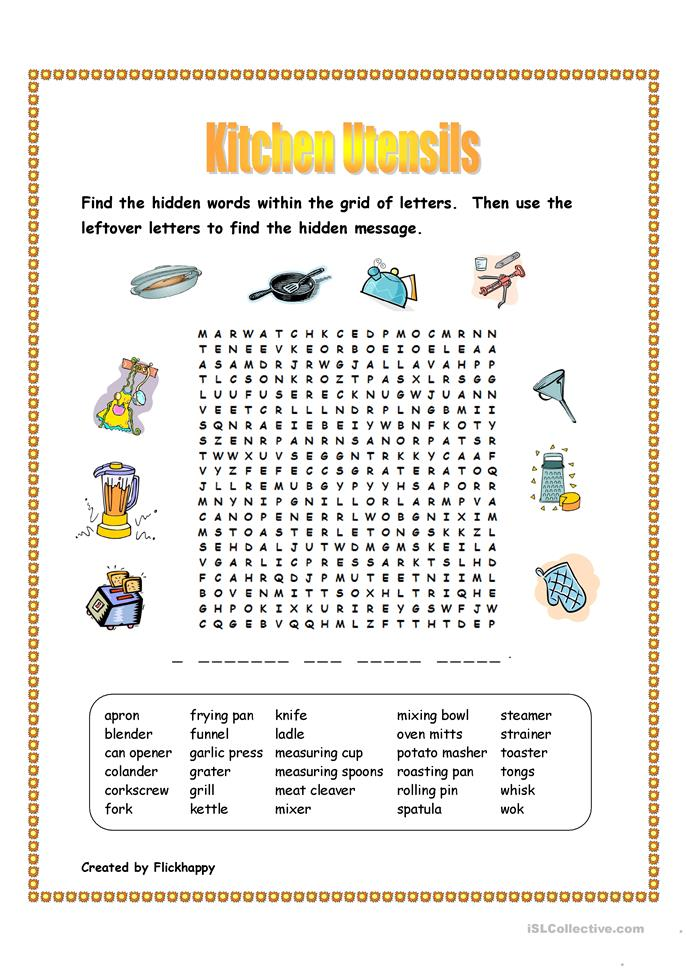 Cooking Tools: Epoch Word Search
