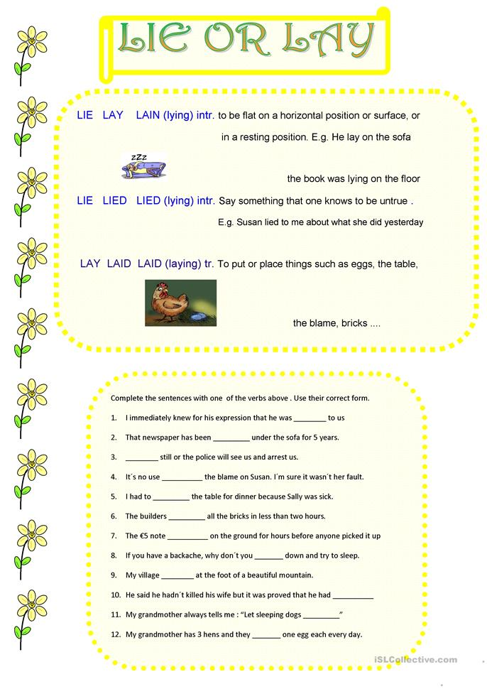 lie or lay worksheet free esl printable worksheets made by teachers. Black Bedroom Furniture Sets. Home Design Ideas