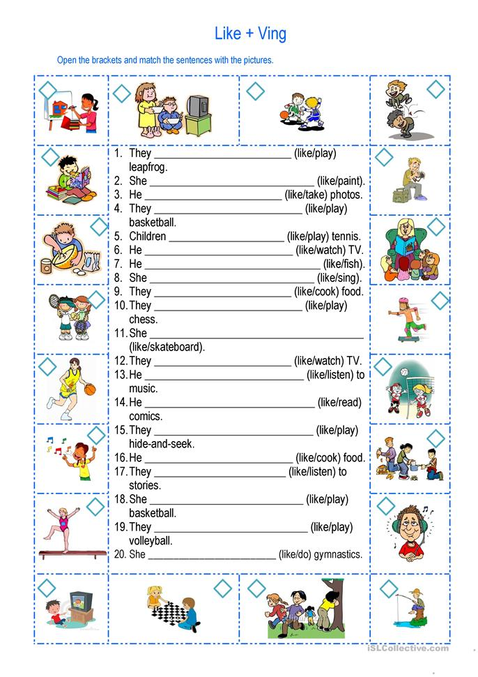 Like + Ving - ESL worksheets