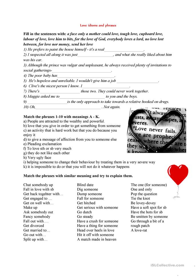 Love idioms and phrases - ESL worksheets