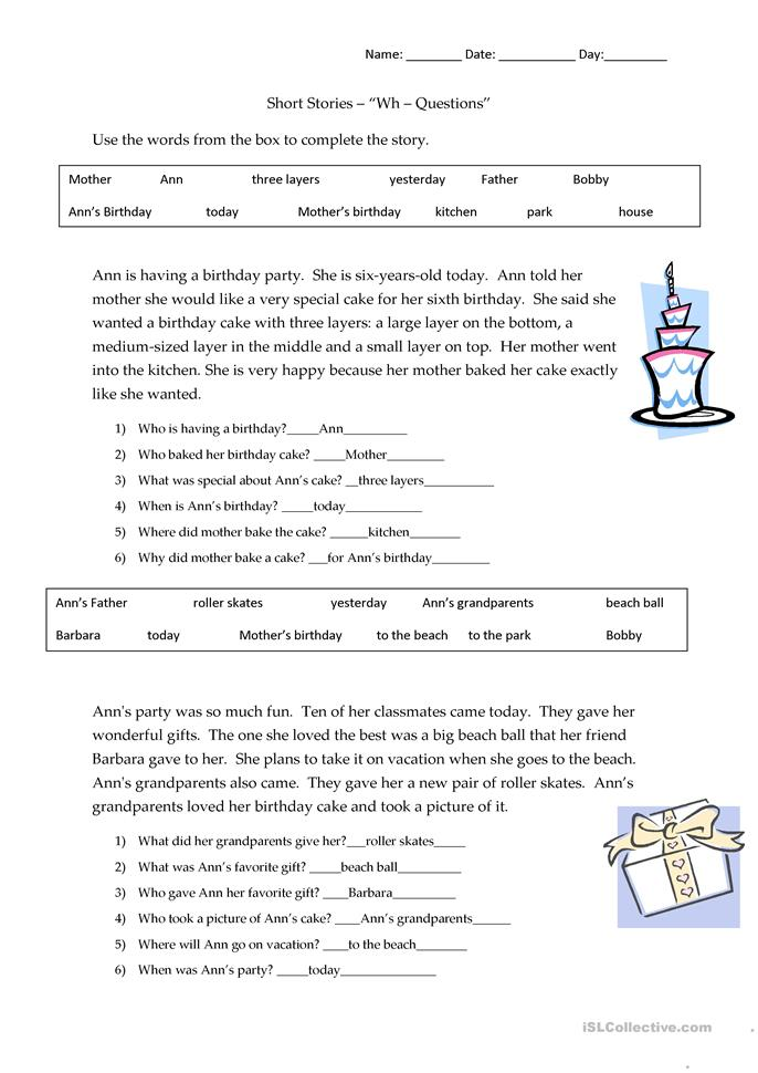 Short Stories Wh-questions - answers - ESL worksheets