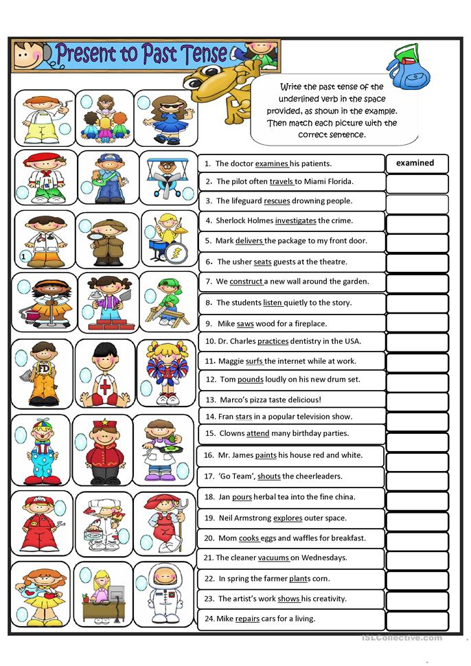 Simple Present tense to Simple  Past tense - Regular Verbs - ESL worksheets