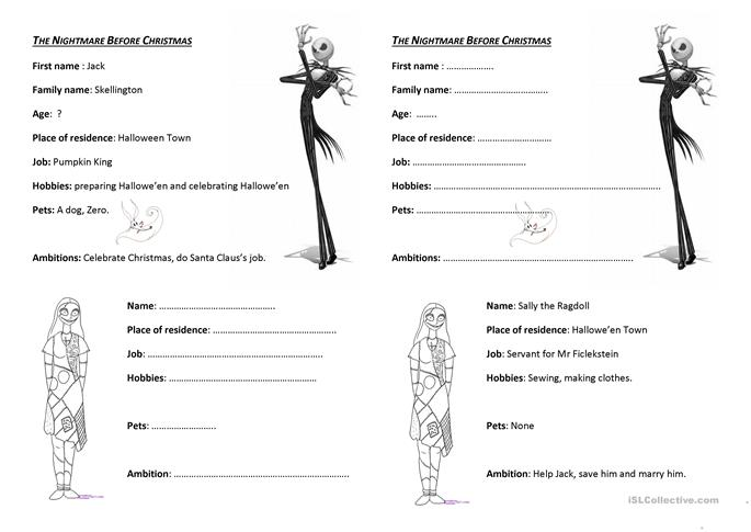 6 FREE ESL Nightmare before Christmas worksheets