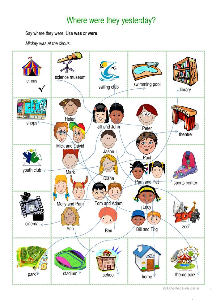 Where were they yesterday - ESL worksheets