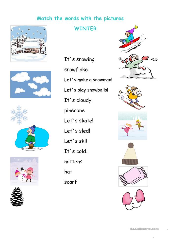 Winter matching worksheet - ESL worksheets