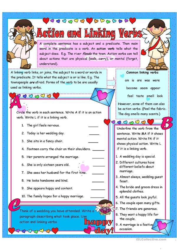Action And Linking Verbs 6 Activities Worksheet Free