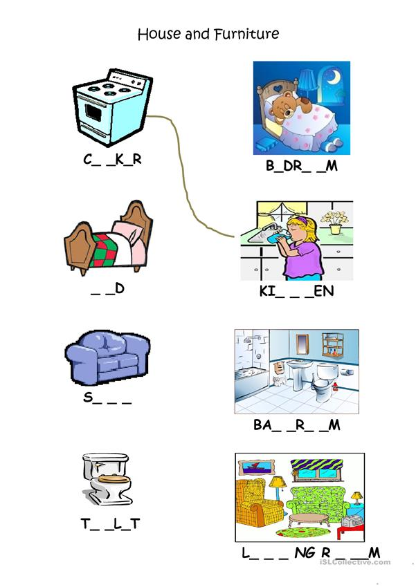 House Rooms Worksheet: Rooms And Furniture Match Up Worksheet