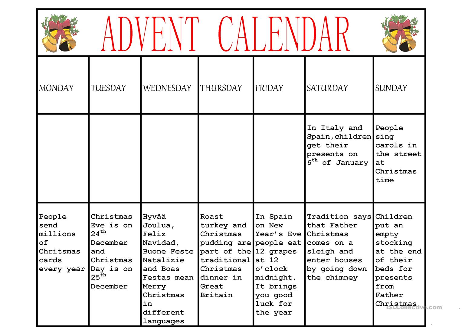 Advent Calendar - English ESL Worksheets