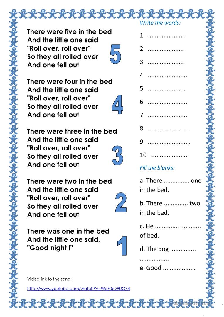 Counting song: Ten in the Bed - English ESL Worksheets