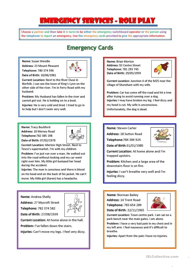 Emergency Switchboard Role Play English Esl Worksheets For Distance Learning And Physical Classrooms