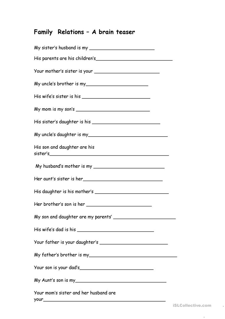 - Family Relations - A Brain Teaser - English ESL Worksheets For