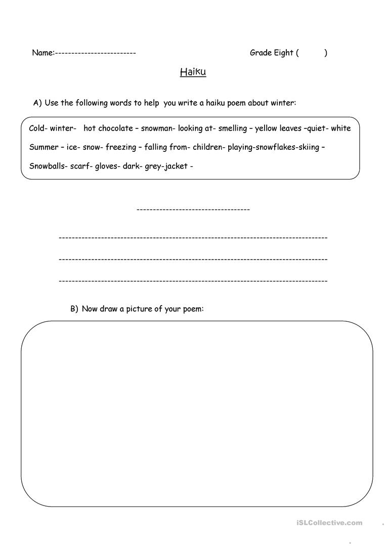 Worksheets Haiku Worksheet haiku poem writing worksheet free esl printable worksheets made full screen