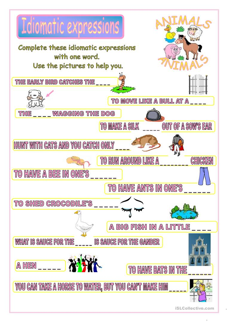 idiomatic expressions worksheet free esl printable worksheets made by teachers. Black Bedroom Furniture Sets. Home Design Ideas