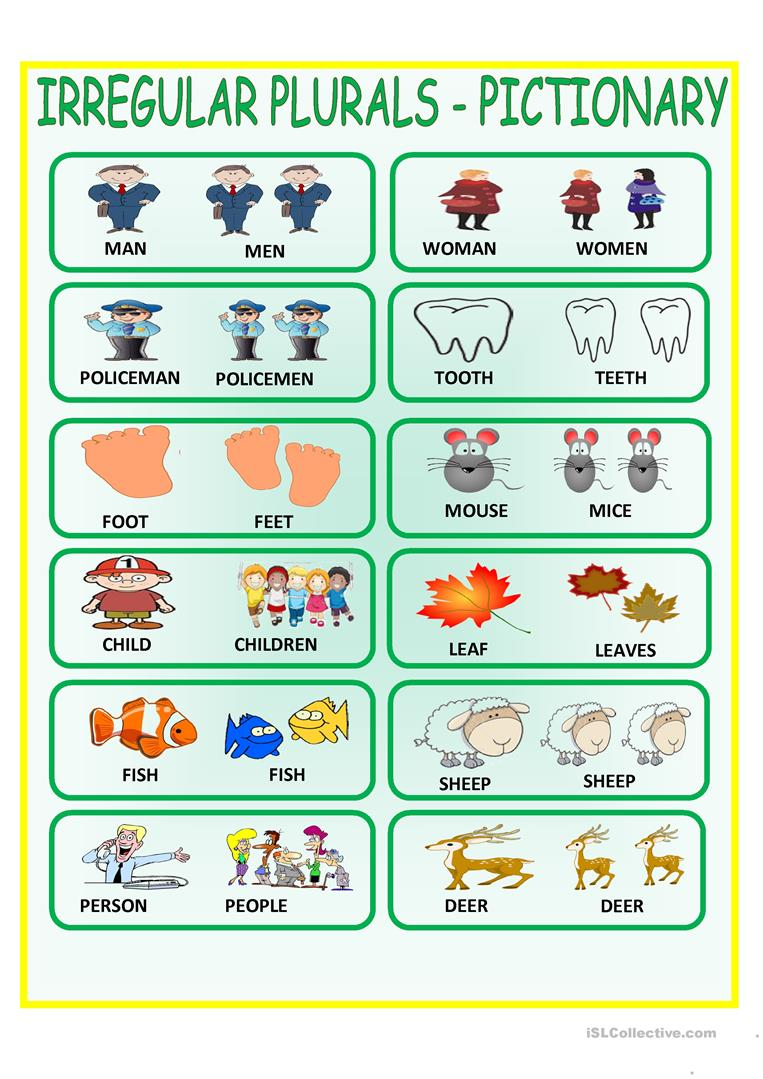 Worksheets Irregular Plural Nouns Worksheets 35 free esl irregular plurals worksheets pictionary