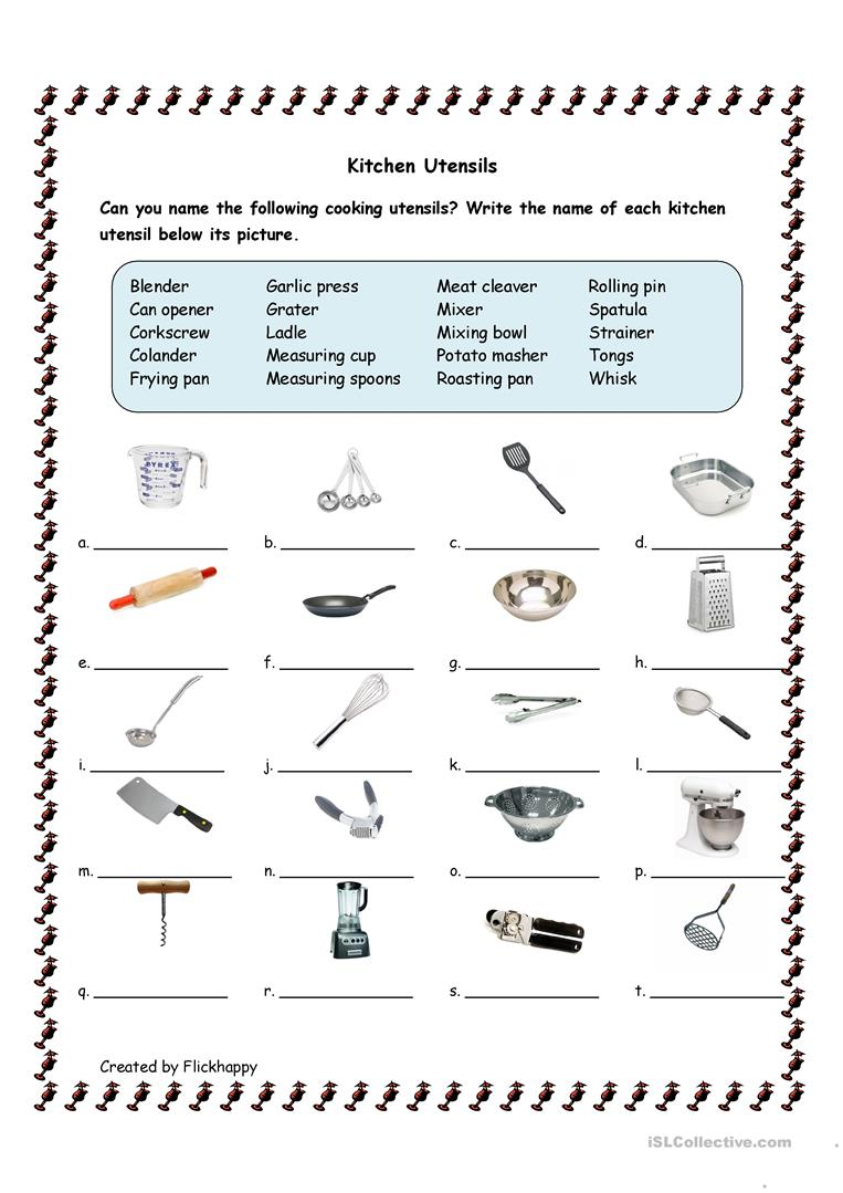 Kitchen Utensils worksheet - Free ESL printable worksheets ...