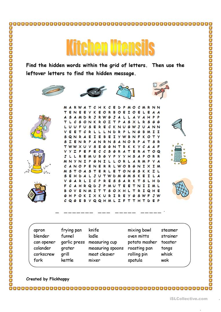 Kitchen Utensils Wordsearch - English ESL Worksheets
