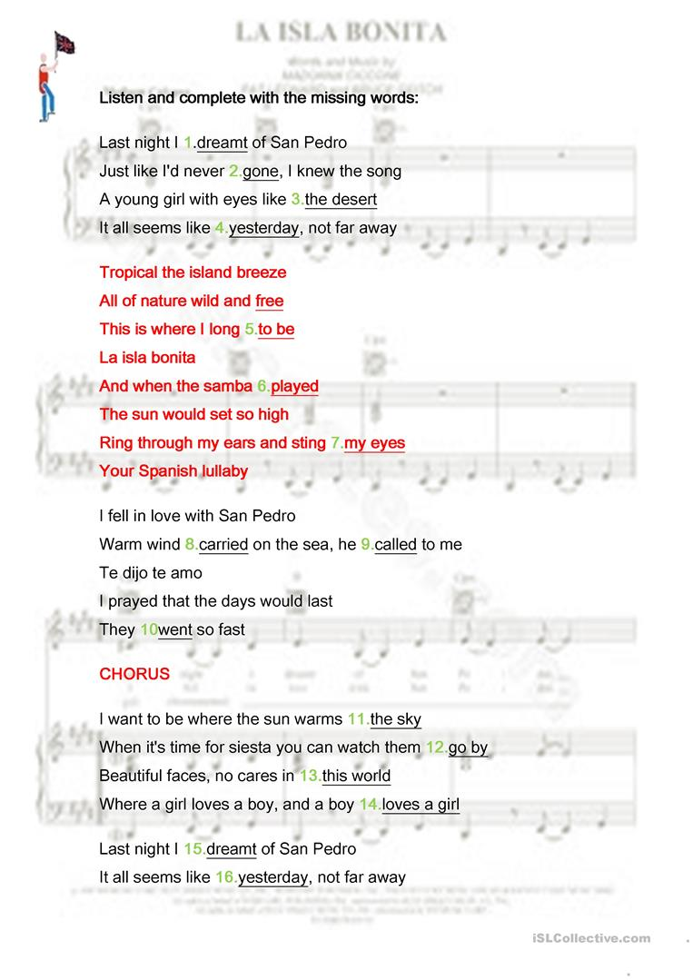 La Isla Bonita Madonna English Esl Worksheets For Distance Learning And Physical Classrooms