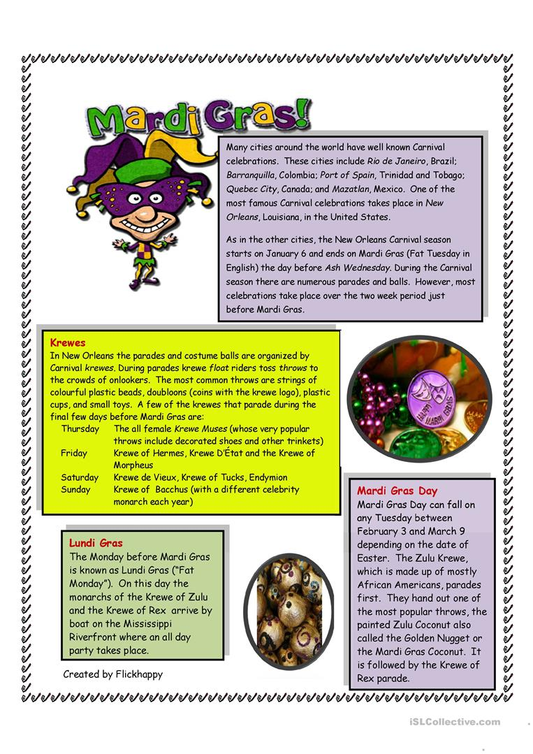 worksheet Mardi Gras Worksheets mardi gras worksheet free esl printable worksheets made by teachers full screen