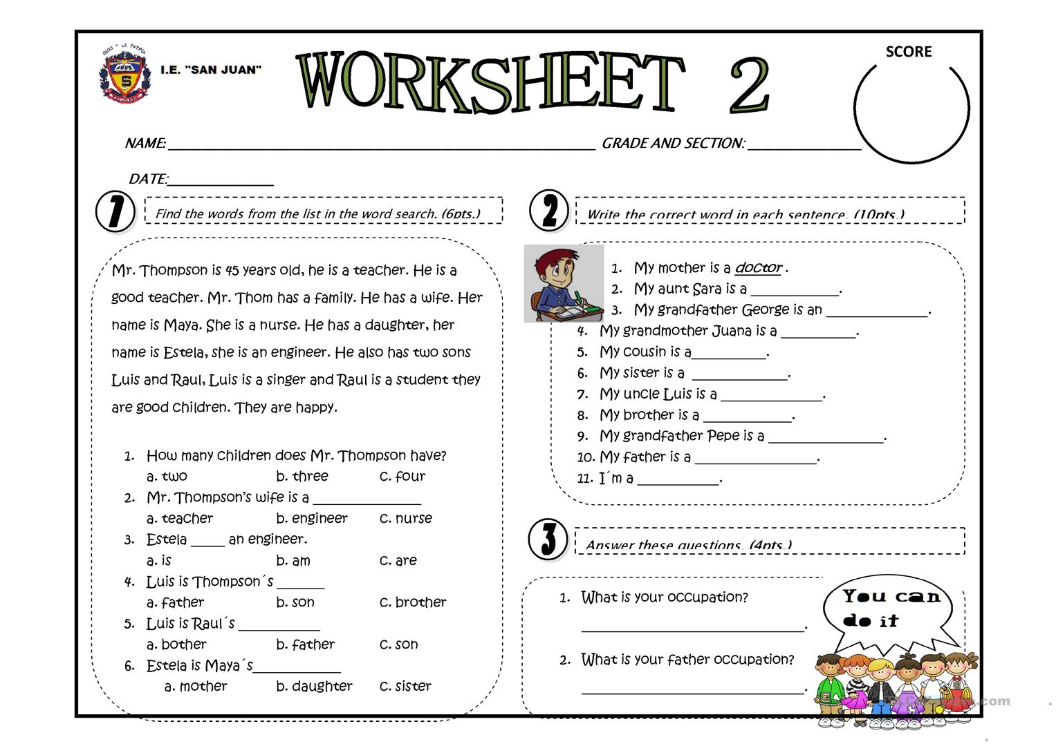 - My Family Occupation - English ESL Worksheets For Distance
