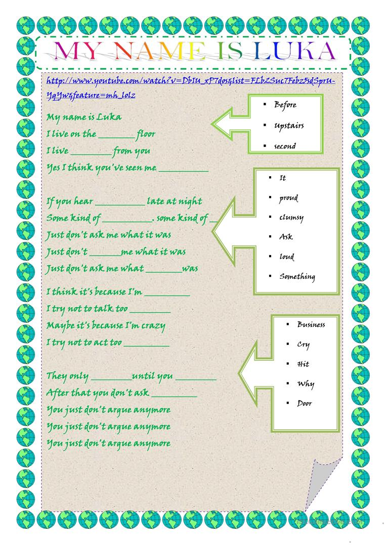 My Name is luka - song - English ESL Worksheets