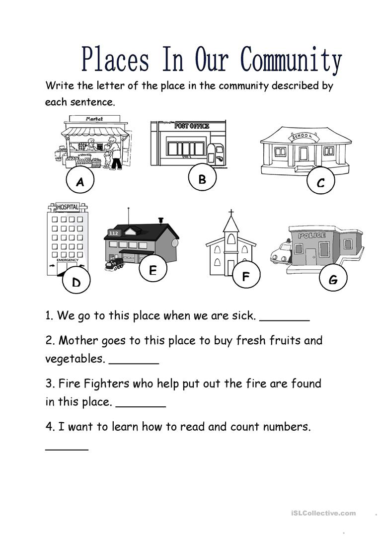 places in our community worksheet free esl printable worksheets made by teachers. Black Bedroom Furniture Sets. Home Design Ideas