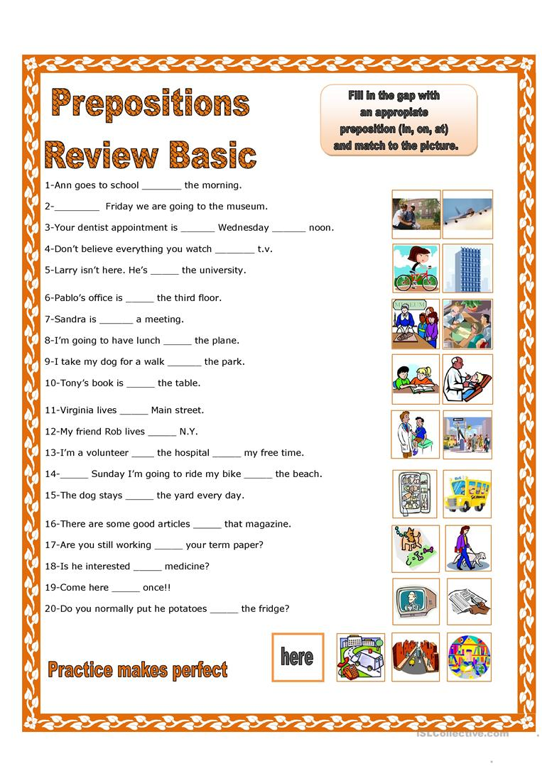 Prepositions Of Place Review Basic English Esl Worksheets For Distance Learning And Physical Classrooms
