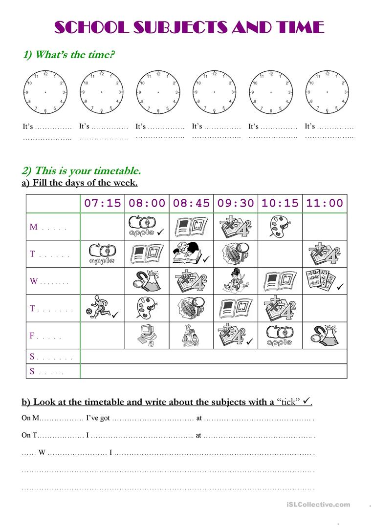 school subjects and time worksheet free esl printable worksheets made by teachers. Black Bedroom Furniture Sets. Home Design Ideas
