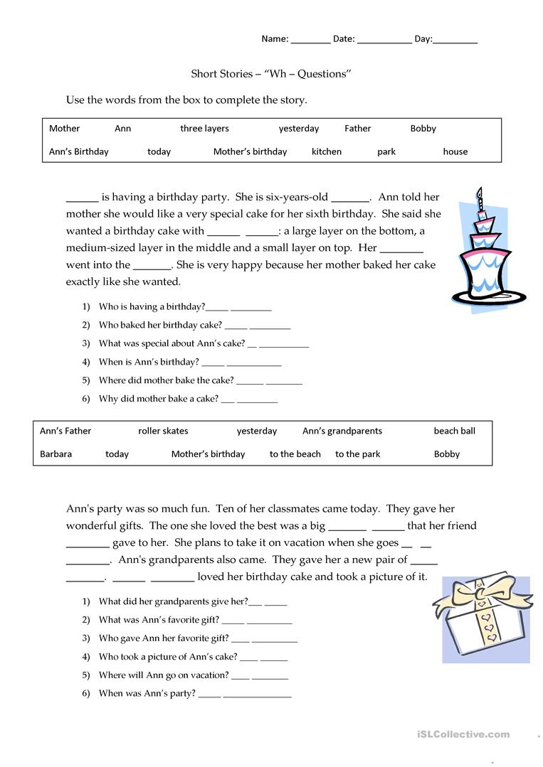 Worksheets Short Stories Worksheets 20 free esl short stories worksheets wh questions