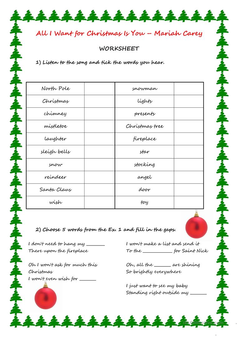 Song Activity - All I want for Christmas is you worksheet - Free ESL ...