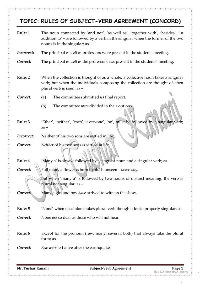 Workbooks subject verb agreement practice worksheets with answers : 4 FREE ESL concord worksheets