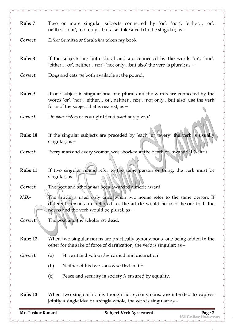 Parallel Sentence Structure Worksheets   Subject Verb Agreement Worksheet   English Teaching  Punnett Square Worksheet 1 Answers Pdf with Third Grade Reading Worksheet Subject Verb Agreement Worksheet Subject Verb Agreement Or Concord Worksheet  Free Esl Printable Push Or Pull Worksheet Word