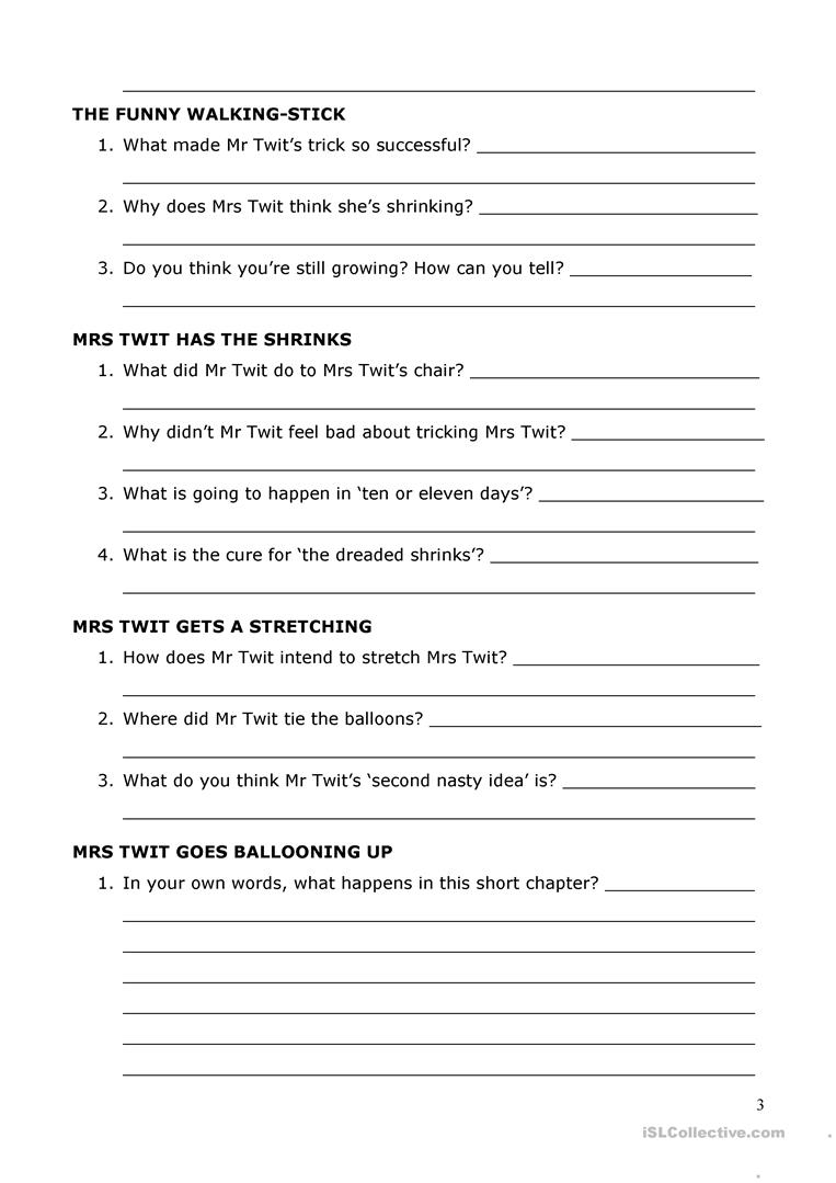 Worksheets Inferential Questions Worksheets the twits by roald dahl reading comprehension worksheet free full screen