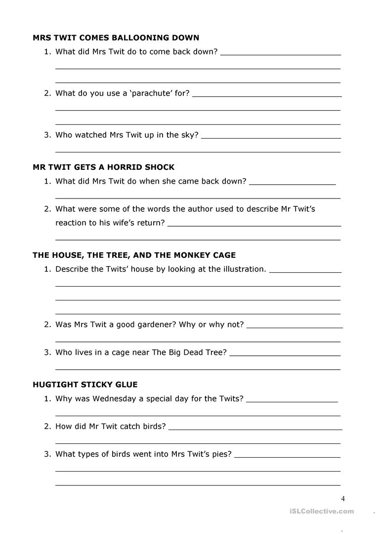 The Twits' by Roald Dahl Reading Comprehension worksheet - Free ...