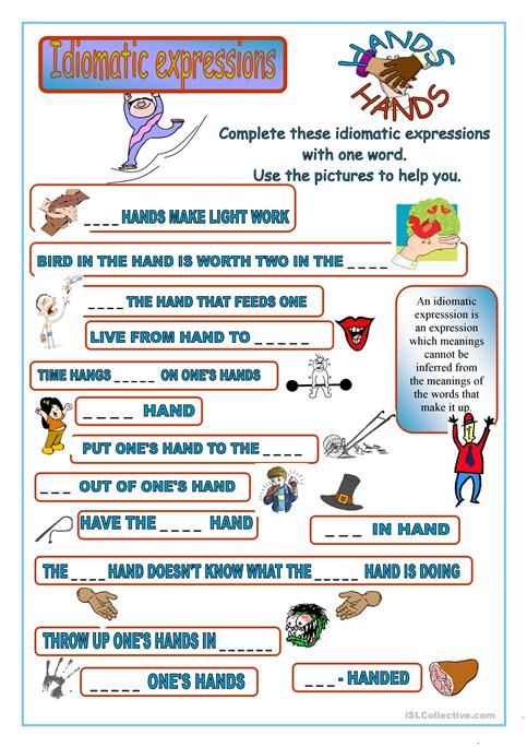 Idiomatic Expressions worksheet - Free ESL printable worksheets made ...