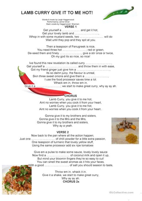 Jamie oliver sings a recipe worksheet free esl printable jamie oliver sings a recipe forumfinder Choice Image