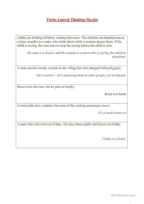 Tricky Lateral Thinking Puzzles worksheet - Free ESL printable ...