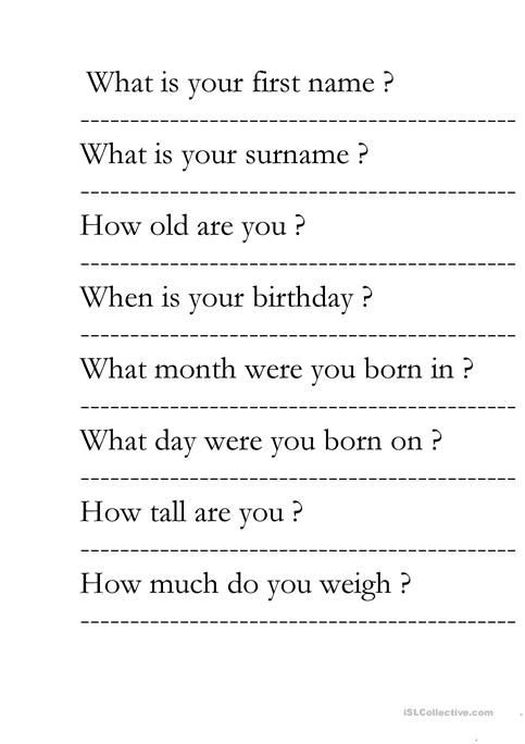 Wh Questions About You Worksheet Free Esl Printable Worksheets