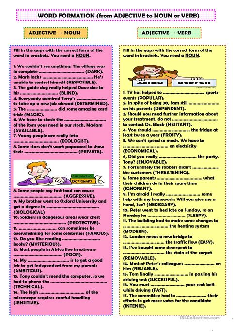 Word Formation From Adjective To Noun Or Verb Worksheet Free Esl