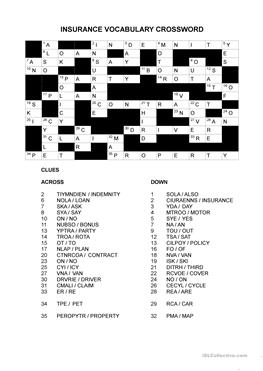 1 free esl insurance worksheets insurance crossword thecheapjerseys Image collections