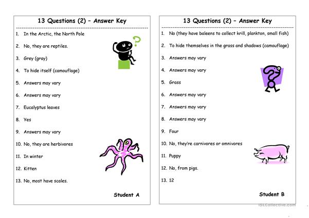13 Questions (2): Am/are/is - do/does (Pair work) - English