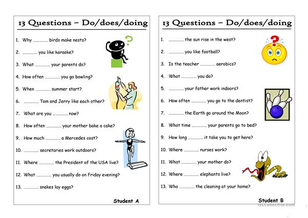 13 Questions (6) - Do-does-doing (Pair work)