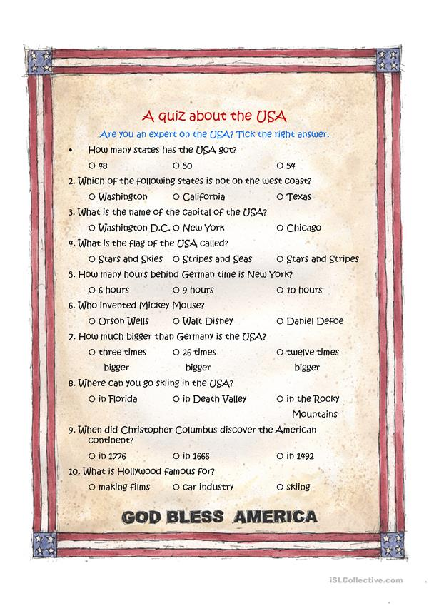 A quiz about the USA