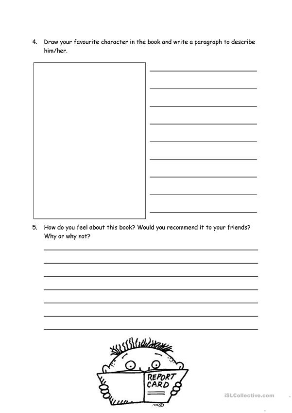 Book report form for fiction