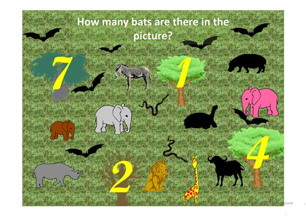 COUNT THE ANIMALS GAME (1-10) for two teams