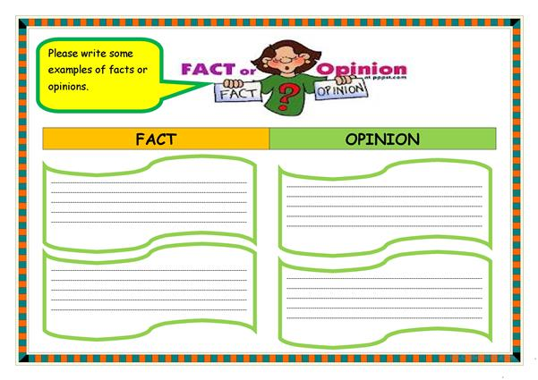 FACT OR OPINION ORGANIZER